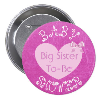 Big Sister to Be Pink Bow Baby Shower Button