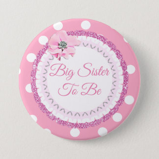 Big Sister to be Pink Polka Dot Flower Button