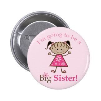 Big Sister To Be Stick Figure Girl Ethnic 6 Cm Round Badge