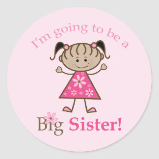 Big Sister To Be Stick Figure Girl Ethnic Classic Round Sticker