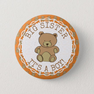 Big Sister to be Teddy Bear Its a Boy Button
