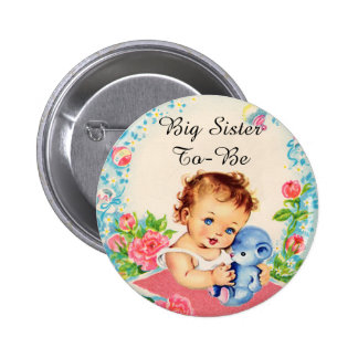 Big Sister To Be Vintage Baby Shower Button