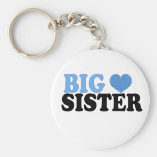 Big Sister with Blue Heart Basic Round Button Key Ring