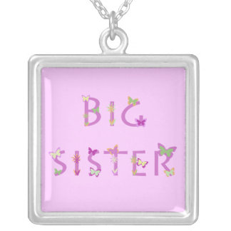 """Big Sister"" with butterflies & flowers on pink Square Pendant Necklace"
