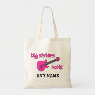 Big Sisters Rock with Pink Guitar Tote Bags