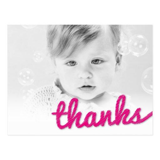 Big Sketch Baby Girl Birthday Thank You Photo Postcards