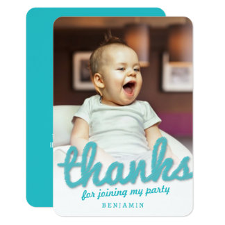 Big Sketch Boy Thank You 1st Birthday Photo Card