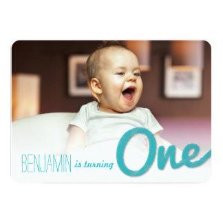 Big Sketch One Baby Boy First Birthday Party 5x7 Paper Invitation Card