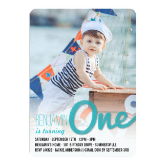 Big Sketch One Baby Boy First Birthday Party Personalized Invite
