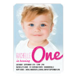 Big Sketch One Baby Girl First Birthday Party Personalized Announcements