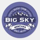 Big Sky Logo MIdnight Classic Round Sticker