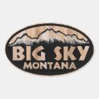 Big Sky Montana wooden oval stickers