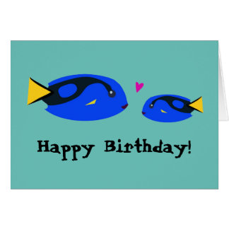 Big & Small Blue Tang Fish Kissing Happy Birthday! Card