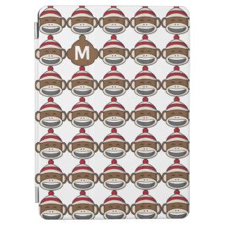 Big Smile Sock Monkey Emoji Monogrammed iPad Air Cover