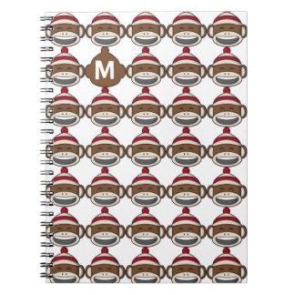 Big Smile Sock Monkey Emoji Monogrammed Spiral Notebook