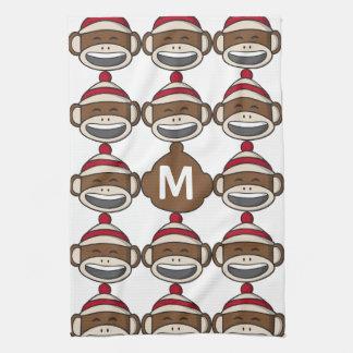 Big Smile Sock Monkey Emoji Monogrammed Tea Towel