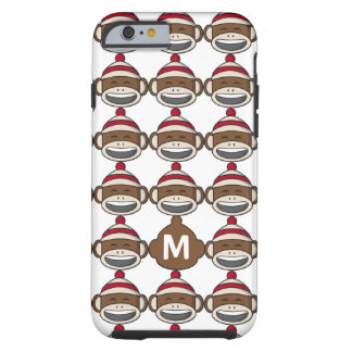 Big Smile Sock Monkey Emoji Monogrammed Tough iPhone 6 Case