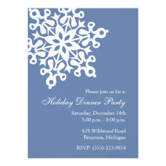 Big Snowflake Blue Holiday Party Invitations