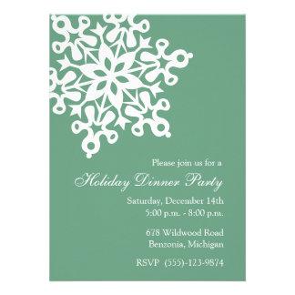 Big Snowflake Green Holiday Party Invitations
