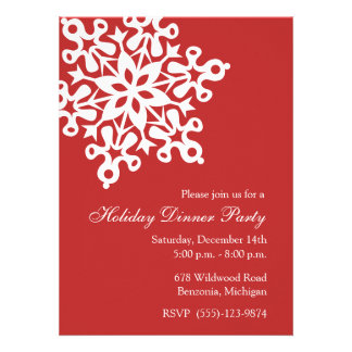 Big Snowflake Red Holiday Party Invitations
