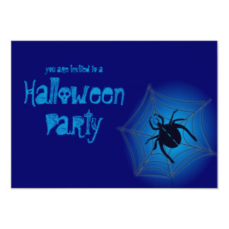 "Big Spider On Web Blue Halloween Party Invitation 5"" X 7"" Invitation Card"