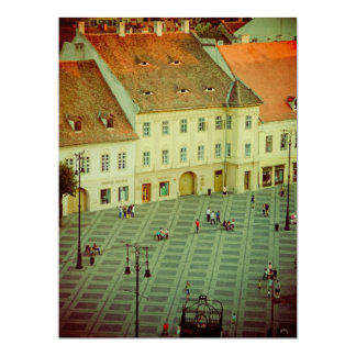 Big Square view, Sibiu 17 Cm X 22 Cm Invitation Card