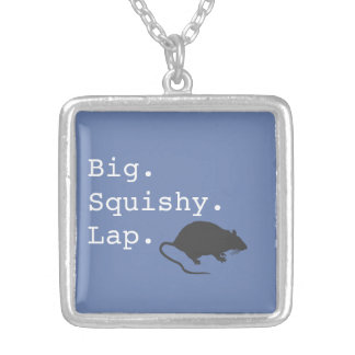 Big Squishy Lap Rat Silver Plated Necklace