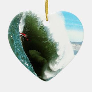 Big Steep Surfing Wave Ceramic Heart Decoration