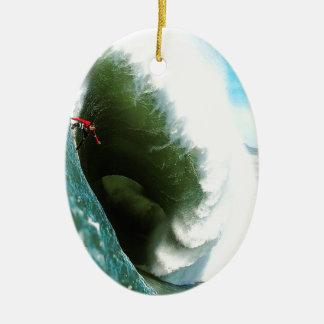 Big Steep Surfing Wave Ceramic Oval Decoration