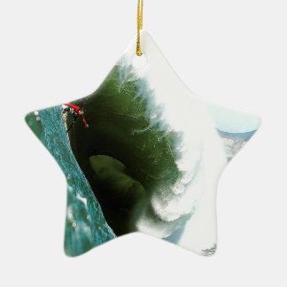 Big Steep Surfing Wave Ceramic Star Decoration