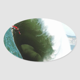 Big Steep Surfing Wave Oval Sticker