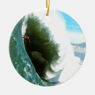 Big Steep Surfing Wave Round Ceramic Decoration