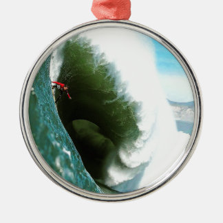 Big Steep Surfing Wave Silver-Colored Round Decoration