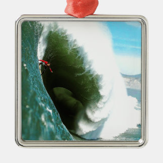 Big Steep Surfing Wave Silver-Colored Square Decoration