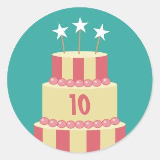 Big Striped Cake Birthday Age Stickers