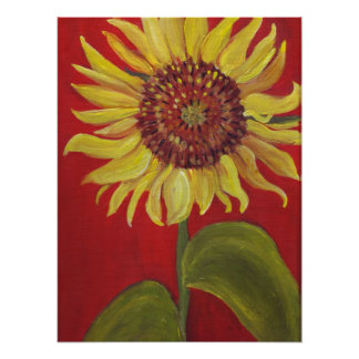 Big Sunflower on RED Print