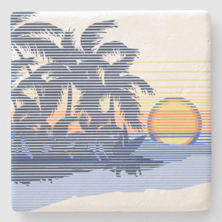 Big Sunset Stripe Hawaiian Tiki Bar Coasters