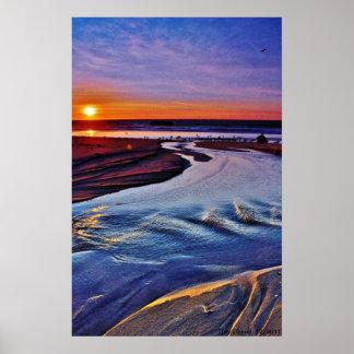 Big Sur Blue and Gold Sunset. Print