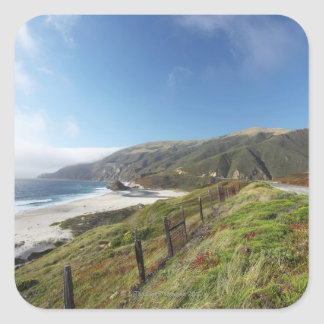 Big Sur perfection where the mountains roll Square Sticker