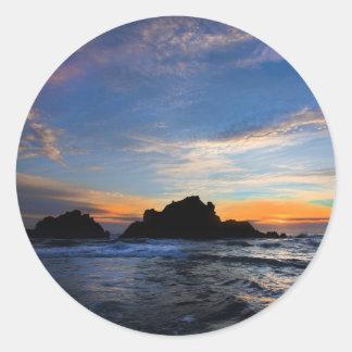 Big Sur Sunset Classic Round Sticker