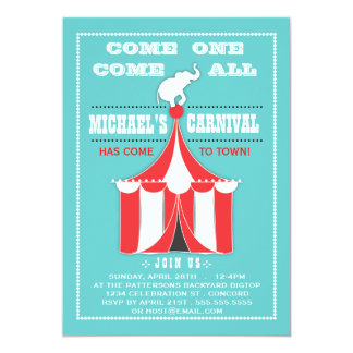 Big Top Carnival Birthday Party Turquoise | Red Card