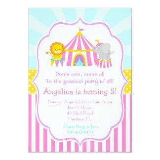 Big Top Circus Carnival Birthday in Pink Card