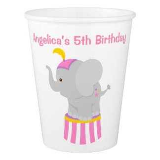 Big Top Circus Carnival Birthday in Pink Paper Cup