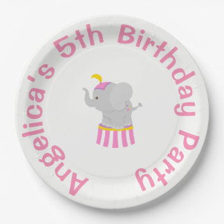 Big Top Circus Carnival Birthday in Pink Paper Plate