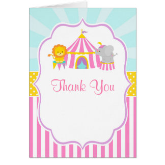Big Top Circus Carnival Birthday Thank You Card