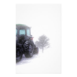 Big Tractor in Snow Stationery