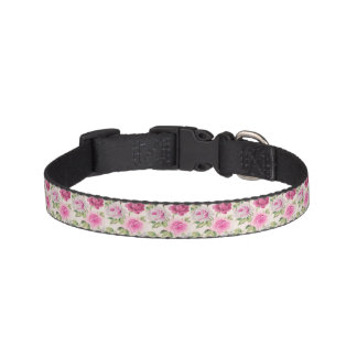 Big trendy roses shabby chic vintage floral girly pet collar