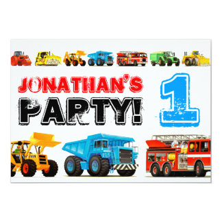 Big Trucks 1st Birthday Party 13 Cm X 18 Cm Invitation Card