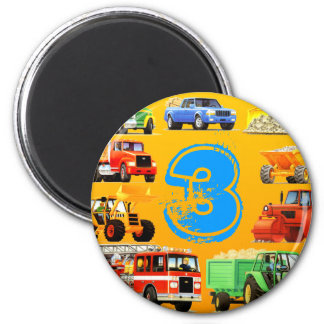 Big Trucks 3rd Birthday Refrigerator Magnets