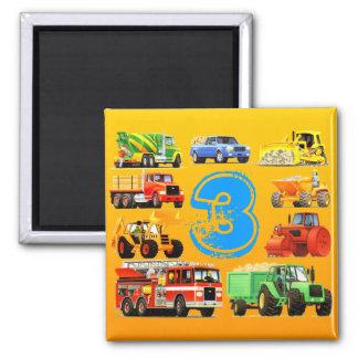 Big Trucks 3rd Birthday Magnet